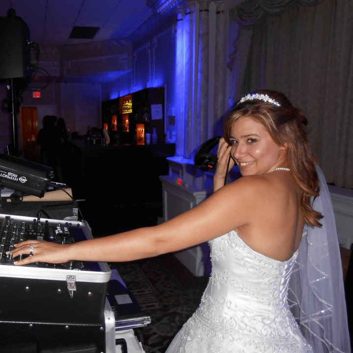 Bride with DJ Equipment